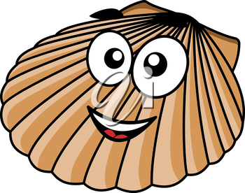 Cartoon seashell with a happy smile and the fan shaped shell of a typical mollusk, vector illustration on white