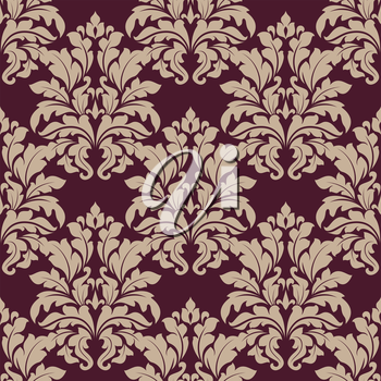Seamless dense ornate arabesque pattern in vinous and beige with large foliate motifs in damask style, vector illustration