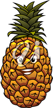 Fun cartoon tropical pineapple fruit with a happy smiling face and crown of green leaves