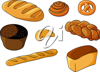 Assorted fresh cartoon bakery set with a crusty baguette, Danish pastry, pretzel, muffin, croissant, plaited loaf, white bread and roll, vector illustration on white