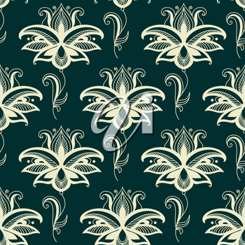 Beige colored Persian paisley seamless floral pattern for wallpaper background and textile design in square format isolated over green background