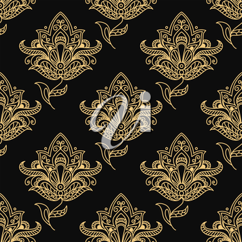 Yellow colored Paisley seamless floral pattern in Persian style for wallpaper, tiles and fabric design isolated over black colored background in square format
