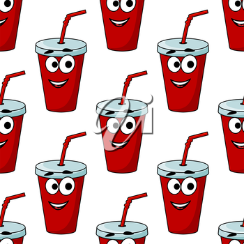 Cartoon takeaway beverage seamless pattern with a red plastic mug and straw with a happy face for fast food design