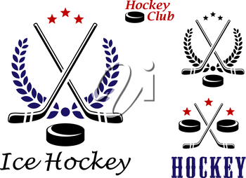 Ice hockey emblems and icons with puck, stars, stick and laurel wreath over text - Ice Hockey for sports design