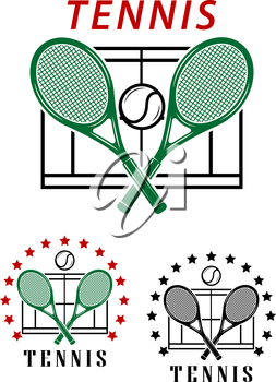 Big tennis emblems or badges with crossed rackets over a court with the text Tennis two designs surrounded by a circle of stars. Vector illustration