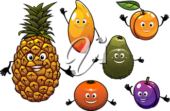 Cartoon  fresh tropical fruits set with a happy smiling plum, pineapple, apricot, orange, peach, mango and avocado