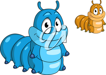 Cartoon caterpillar insect character. Blue and beige color animals for design, such as kids illustration and wildlife