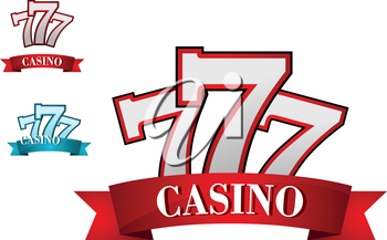 Casino gambling symbol or logo with three seven number, for gamble or success concept design