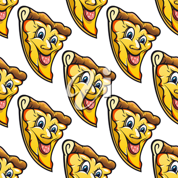 Yellow seamless pattern of cute happy cartoon character of cheesy salami pizza slice with red sticking salami tongue  designed for fast food design