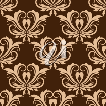 Damask style beige colored floral seamless pattern for tiles, wallpaper or fabric design in square format isolated over brown background