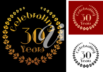 Ornate foliate wreathes in three variations isolated on background for anniversary and heraldry design. These icons depicts the completion of 30 years or 3 decades