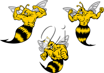 Angry yellow and black cartoon wasp or hornets with a sting shaking his fist and baring his teeth, cartoon illustration on white