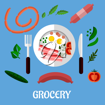 Cooked breakfast with fried eggs and bacon served on a plate with cutlery surrounded by assorted groceries and the word Grocery. Flat design