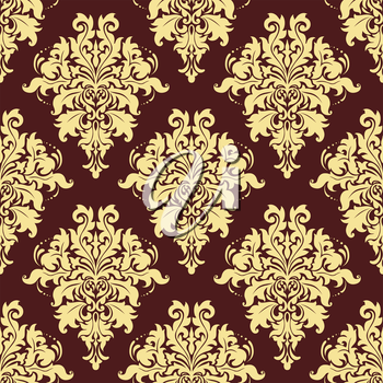 Floral retro yellow seamless pattern on maroon, crimson or dark red  colored background, for backdrop, wallpapers and textile design