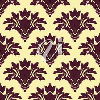Purple cornflowers on beige background seamless pattern in a damask style for textile and fabric design
