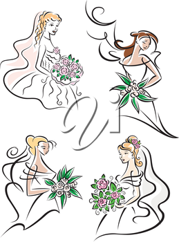 Young brides outlines in elegant white wedding dresses and veils with flowers for marriage, invitation or greeting card design