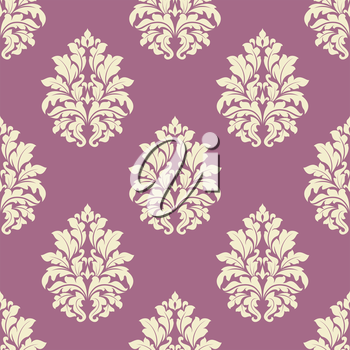 Floral seamless tracery of damask cream flowers with lush blooming on dusty pink background suited for interior and fabric design