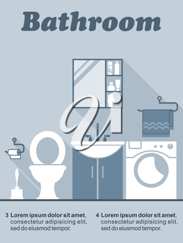 Bathroom flat interior decor and design infographic with editable text space showing a toilet, vanity unit, wall cabinet and washing machine in shades of blue