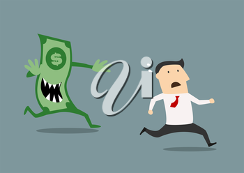 Businessman running for his life pursued by an evil dollar banknote with sharp teeth in a conceptual vector illustration