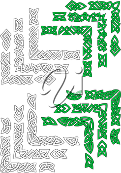 Green and outline celtic frame borders for design and ornate