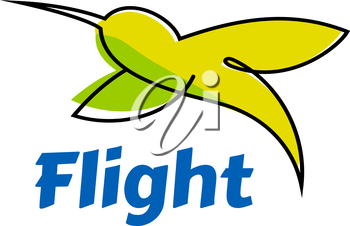 Abstract flying hummingbird logo or emblem showing small tropical colibri bird in yellow and green colors with blue caption Flight