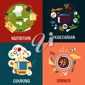 Cooking healthy food flat concept with cuisine icons