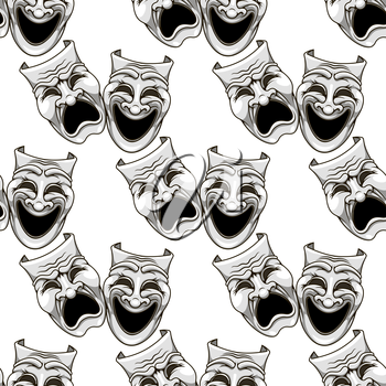 Cartoon theater masks seamless pattern for entertainment and culture design