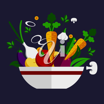 Fresh healthy vegetable cookery ingredients piled in a bowl with carrots, mushroom, onion, tomato, eggplant, garlic and herbs