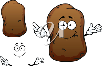 Funny cartoon potato vegetable character with brown rough skin isolated on white background, for agriculture or fresh healthy food design