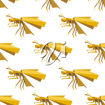 Seamless origami yellow dragonfly pattern with folded paper model of insects on white background for background design
