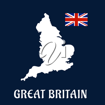 Great Britain country flat icon or emblem with a white silhouette map and Union Jack flag over a blue background and text  Great Britain