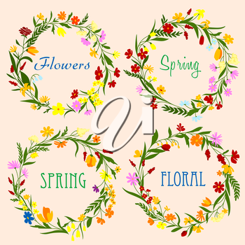 Delicate spring floral wreaths with colorful field flowers, blooming herbs and grass on peach background. For greeting card or floral frame border design