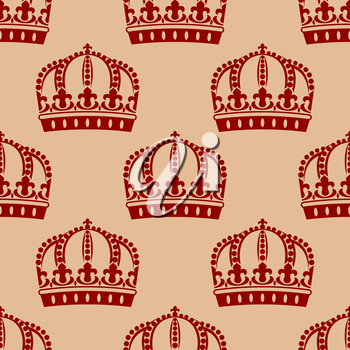 Red medieval crowns in victorian style with classic fleur de lys floral elements seamless pattern for heraldic or textile design