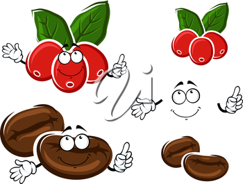 Coffee cartoon characters with ripe coffee red berries, glossy green leaves and roasted coffee brown beans. For agriculture or beverage design