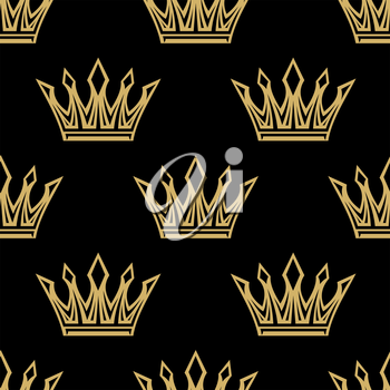 Medieval royal golden crowns with diamonds  seamless pattern on black background, for luxury or textile design