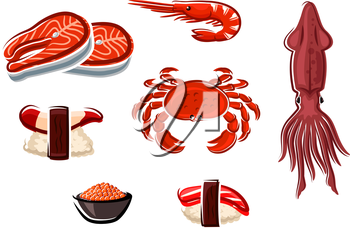 Fresh salmon steaks, crab, squid, shrimp and cooked salted red caviar, nigiri sushi with surf clam and tuna, for seafood menu design