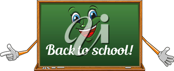 Happy classroom blackboard cartoon character with chalk text Back to school on green surface, for education design