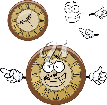 Happy roman numeral wall clock cartoon character with vintage round golden dial and wooden rim, for time concept design