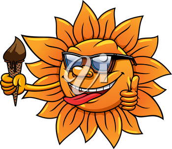 Cartoon hot happy sun character in sunglasses with chocolate ice cream