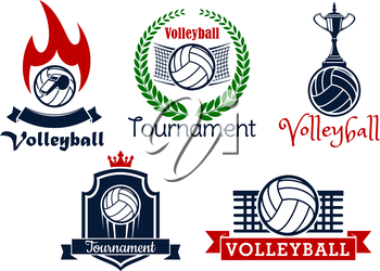 Volleyball sport game heraldic icons and symbol with balls, net, trophy cup, whistle and flame, framed by laurel wreath, crown, shield and ribbon banners