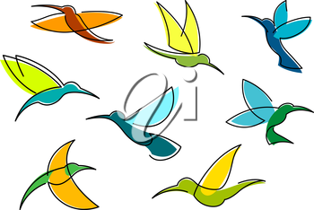 Bright hummingbirds in flight with colorful plumage in orange, blue and green flowing lines isolated on white background