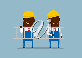 African american happy cartoon engineers in yellow helmets carrying ladder. For construction or business concept design