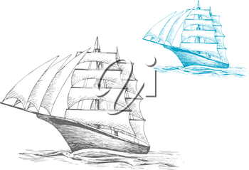 Three masted sailing ship or barque with masts under sails in rippling sea, for nautical, adventure or travel themes