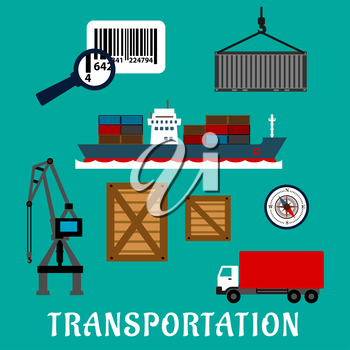 Shipping and delivery flat icons with container ship, cargo crane, wooden and steel containers, barcode with magnifier, compass and delivery truck