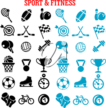 Sport and fitness icons set with silhouettes of sport balls and items, trophy cup, bicycle, racing flag, ice skate, boxing glove, stopwatch, dumbbell and medal