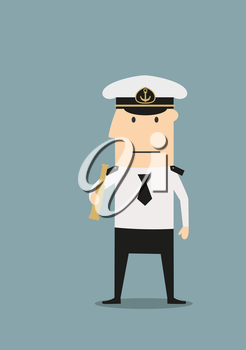 Confident sea captain in white uniform shirt and peaked cap, with spyglass in hand, for profession theme concept. Cartoon flat style