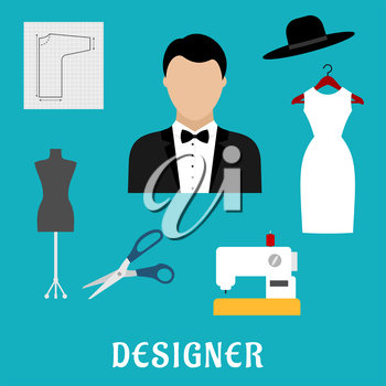 Fashion designer profession flat icons with sewing machine, tailor mannequin, scissors, elegant dress with hat, paper pattern and man in tuxedo