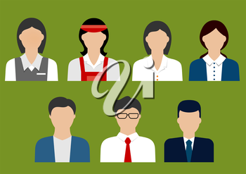 Businessman, banker, finance and sales manager, store cashier, bank manager and shop assistant flat avatars or icons