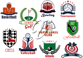 Individual and team sport games icons set with football or soccer, basketball, bowling, billiards, volleyball, darts, chess, golf items, heraldic shields, wreaths, ribbon banners and stars
