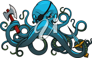 Fearful blue octopus pirate cartoon character with black eye patch, axe and sword in wavy tentacles. For marine adventure or mascot design